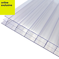Clear Polycarbonate Multiwall Roofing Sheet 2.5m x 1000mm