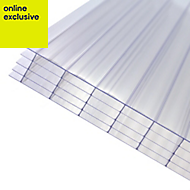 Clear Polycarbonate Multiwall Roofing Sheet 4m x 1000mm
