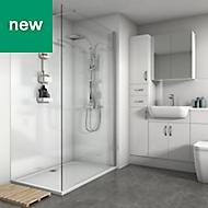 Splashwall Metallic White Gloss 2 sided shower wall kit