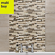 Stone & glass Emperador Gloss Wall tile, (L)300mm (W)308mm