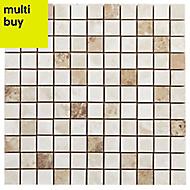 Illusion Natural Stone effect Ceramic Mosaic tile, (L)300mm (W)300mm