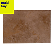 Castle travertine Chocolate Satin Stone effect Ceramic Wall tile, Pack of 7, (L)450mm (W)316mm