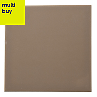 Utopia Taupe Gloss Ceramic Wall tile, Pack of 44, (L)150mm (W)150mm