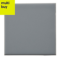 Utopia Grey Gloss Ceramic Wall tile, Pack of 44, (L)150mm (W)150mm