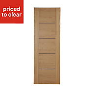 Flush 5 panel Walnut veneer Internal Door, (H)1981mm (W)610mm