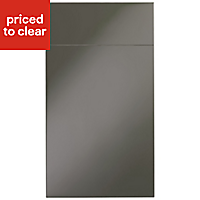 IT Kitchens Santini Gloss Anthracite Slab Drawerline door & drawer front, (W)400mm
