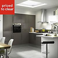 IT Kitchens Santini Gloss Anthracite Straight External Cornice & pelmet, (L)2400mm