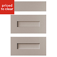 Cooke & Lewis Carisbrooke Taupe Drawer front (W)500mm, Set of 3