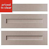 Cooke & Lewis Carisbrooke Taupe Drawer front (W)800mm, Set of 3
