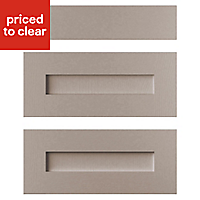 Cooke & Lewis Carisbrooke Taupe Drawer front (W)600mm, Set of 3