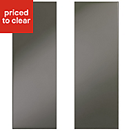 IT Kitchens Santini Gloss Anthracite Slab Wall corner Cabinet door (W)250mm, Set of 2