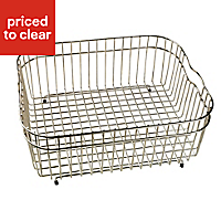 Cooke & Lewis Metal Silver effect Storage basket, (W)310mm