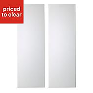 IT Kitchens Santini Gloss White Slab Tall corner Cabinet door (W)250mm, Set of 2