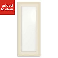 IT Kitchens Santini Gloss Cream Slab Tall glazed Cabinet door (W)300mm