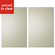 IT Kitchens Santini Gloss Cream Slab Larder Cabinet door (W)600mm, Set of 2