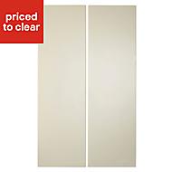 IT Kitchens Santini Gloss Cream Slab Tall corner Cabinet door (W)250mm, Set of 2