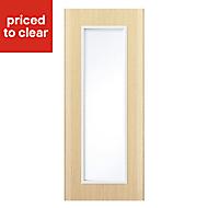 IT Kitchens Sandford Textured Oak Effect Slab Glazed Cabinet door (W)300mm