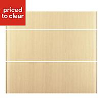 IT Kitchens Sandford Textured Oak Effect Slab Drawer front (W)800mm, Set of 3