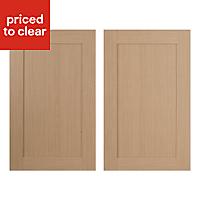 IT Kitchens Westleigh Textured Oak Effect Shaker Larder Cabinet door (W)600mm, Set of 2