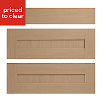 IT Kitchens Westleigh Textured Oak Effect Shaker Drawer front (W)800mm, Set of 3