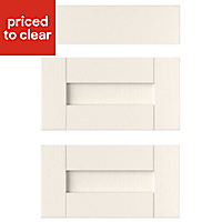 IT Kitchens Brookfield Textured Ivory Style Shaker Drawer front, Set of 3