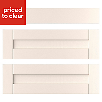 IT Kitchens Brookfield Textured Ivory Style Shaker Drawer front (W)800mm, Set of 3