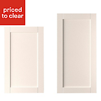 IT Kitchens Textured Ivory Style Shaker Tall Cabinet door (W)600mm, Set of 2