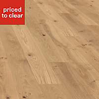 Colours Monito Natural Oak effect Real wood top layer flooring, Sample