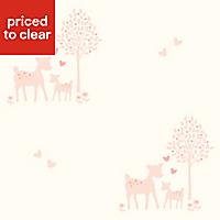 Baby Colours Little Deer Pink Wallpaper