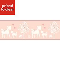 Baby Colours Little Deer Pink Border