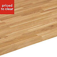 26mm Solid oak Square edge Kitchen Worktop, (L)3000mm