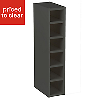 Cooke & Lewis Gloss Anthracite Style Anthracite Tall Wine rack cabinet, (H)900mm (W)150mm