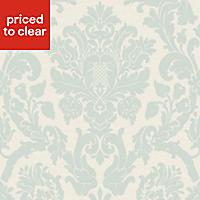 Kensington Cream & pearl blue Wallpaper