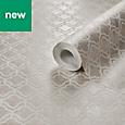 Grandeco Lattice Champagne Geometric Metallic effect Wallpaper