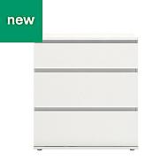 Nova White Matt 3 Drawer Chest of Drawers (H)835mm (W)768mm (D)400mm