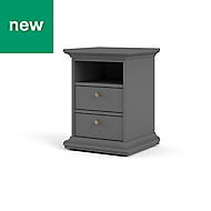 Paris Grey Matt 2 Drawer Bedside Chest (H)588mm (W)436mm (D)400mm