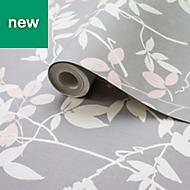 Rasch Grey Foliage Wallpaper