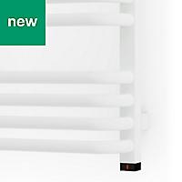 Terma Alex 400W Electric White Towel warmer (H)760mm (W)500mm