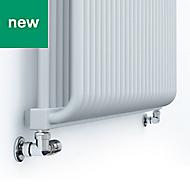 Terma Delfin Horizontal Designer radiator Soft White powder paint (H)540 mm (W)1020 mm