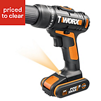 Worx Cordless 20V 1.5Ah Li-ion Brushed Drill 2 batteries WX386.5