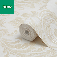 Fine Décor Verona Beige Damask Glitter Wallpaper