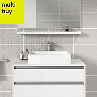 Iris Grey Gloss Ceramic Wall tile, Pack of 10, (L)400mm (W)250mm