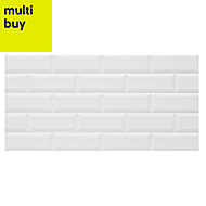 Millenium White Gloss Brick effect Ceramic Wall tile, Pack of 6, (L)600mm (W)300mm