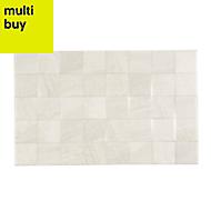 Fiji White Matt Stone effect Ceramic Wall tile, Pack of 10, (L)400mm (W)250mm