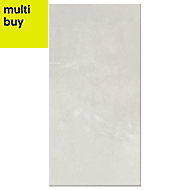 Memphis White Gloss Marble effect Ceramic Wall tile, Pack of 6, (L)600mm (W)300mm