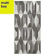 Memphis Black & white Gloss Harlequin effect Ceramic Wall tile, Pack of 5, (L)600mm (W)300mm