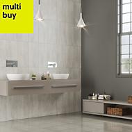 Unique White Matt Concrete effect Ceramic Wall tile, Pack of 8, (L)500mm (W)250mm