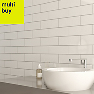 Windsor White Gloss Ceramic Wall tile, Pack of 30, (L)300mm (W)100mm