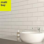 Windsor White Gloss Ceramic Wall tile, Pack of 30, (L)300mm (W)100mm