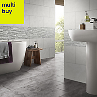 Oscano Grey mix Matt Stone effect Ceramic Wall tile, Pack of 6, (L)300mm (W)600mm
